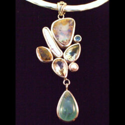 Boulder Opal,Aquamarine Cabochon, Freshwater Pearl, Green Amethyst, Citrine, Blue Topaz and White Topaz Sterling Silver Pendant