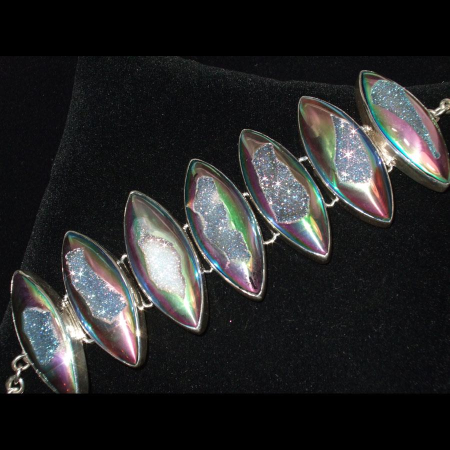 Titanium Druzy Quartz Sterling Silver Bracelet