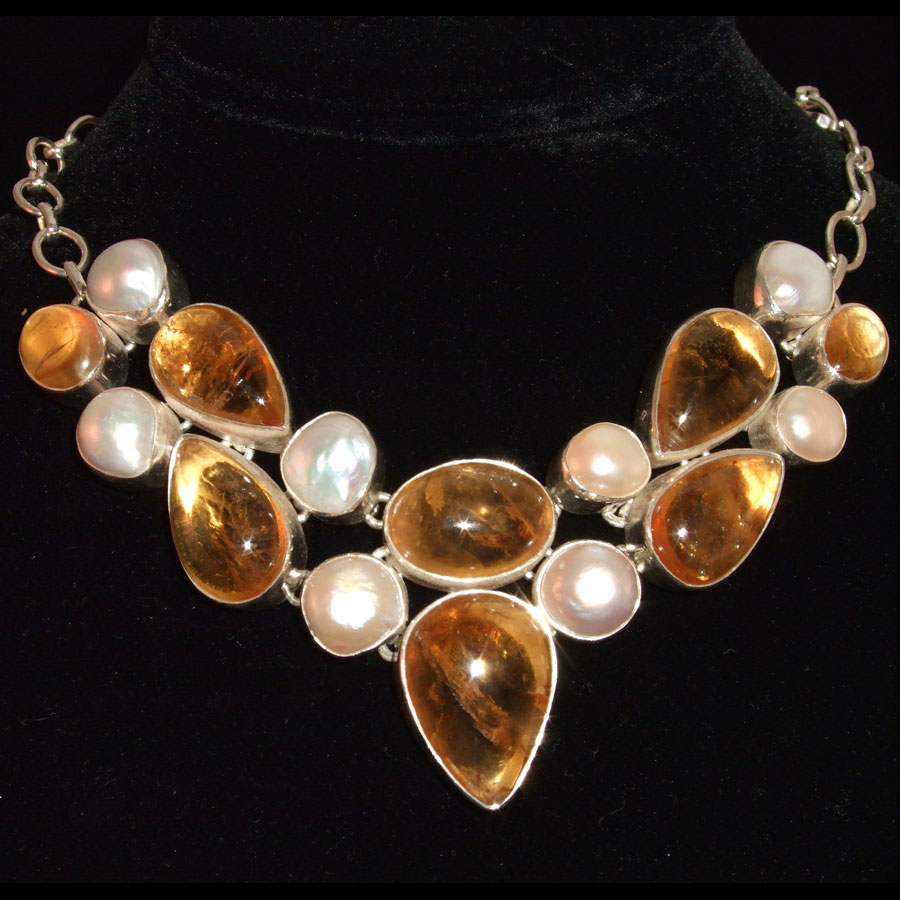 Amber and Freshwater Pearl Multi-Gemstone Sterling Silver Necklace