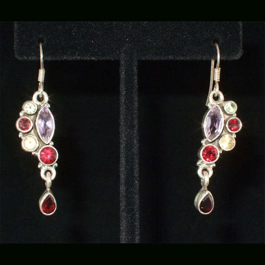 Amethyst, Garnet, Peridot, Citrine Drop Sterling Silver Earrings