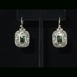 Faceted Green/Gold Quartz Ornate Sterling Silver Dangle Earrings
