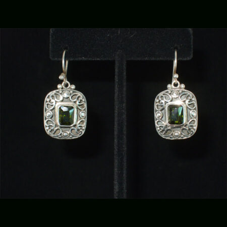 Faceted Green/Gold Quartz Ornate Sterling Silver Dangle Earrings