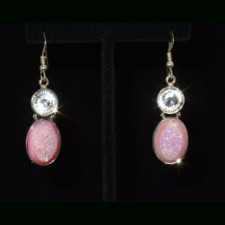 Hot Pink Druzy and White Topaz Sterling Silver  Drop Earrings