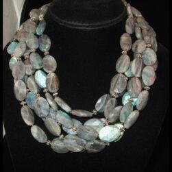 Handmade, artisan 5 strand Labradorite necklace