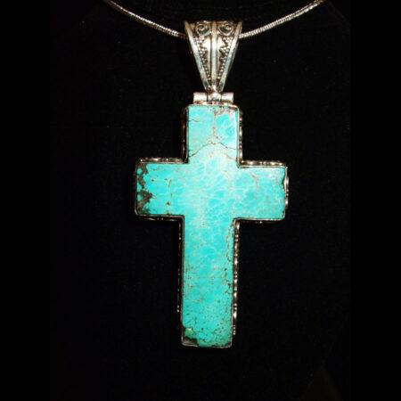 Ornate Turquoise Sterling Silver Cross Pendant/Slide