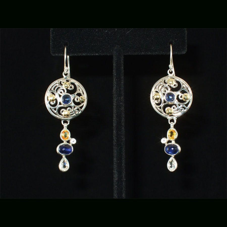 Sapphire, Citrine Sterling Earrings