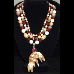 Ruby Quartz, Ruby and Pearl 3 strand hand beaded Necklace