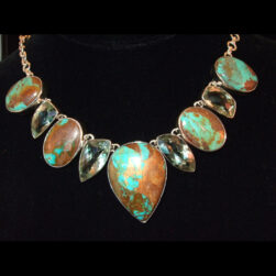 Turquoise, Green Amethyst Sterling Silver Artisan Necklace