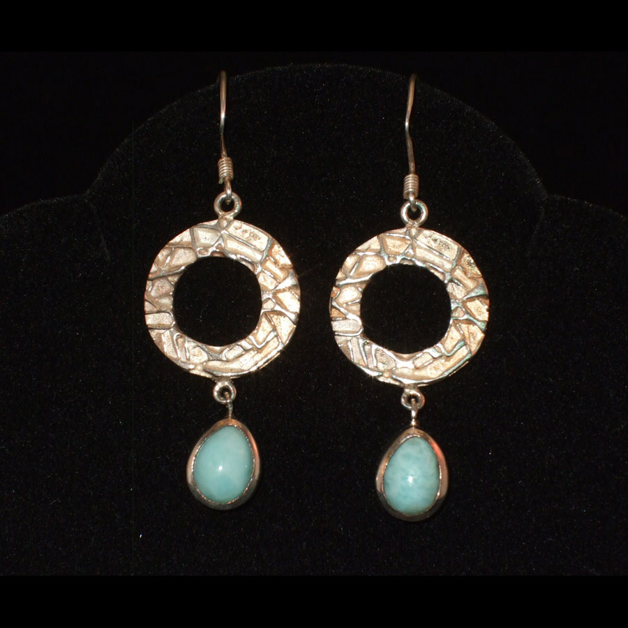 Larimar and Sterling Silver dangle earrings