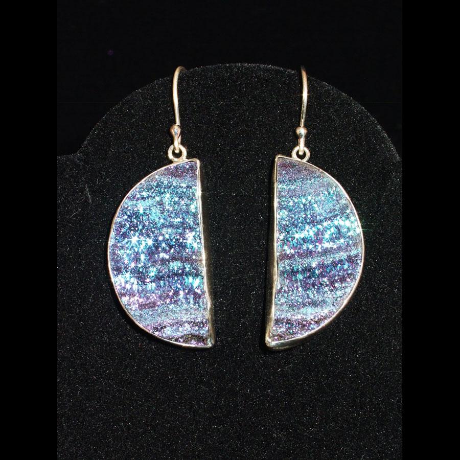 Titanium Druzy Quartz Sterling Silver Dangle Earrings