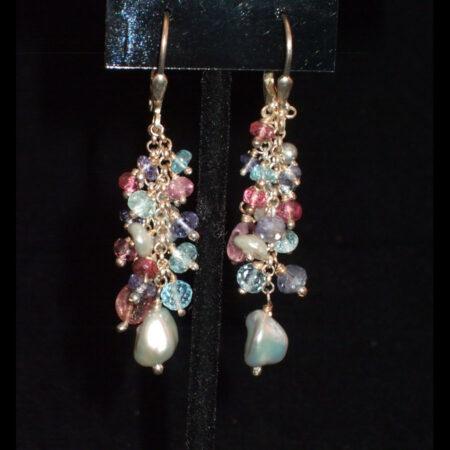 Pearl,Tourmaline,Iolite, Blue Topaz drop earrings