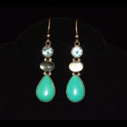 Blue Topaz, Labradorite, Turquoise Sterling Silver Drop Earrings