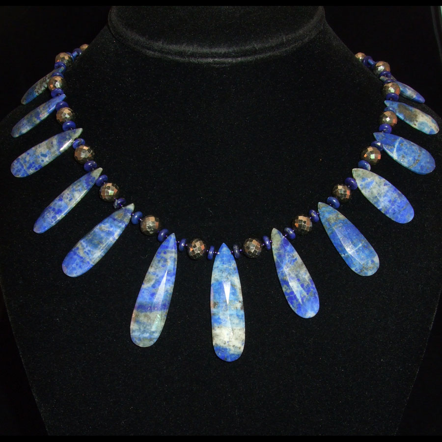 Lapis and Pyrite Handmade Beaded Necklace