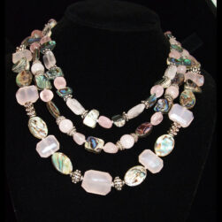 Rose Quartz, Abalone, Sterling Silver 3 strand beaded necklace