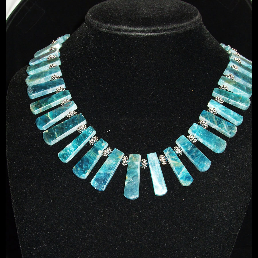 Apatite Sterling Silver Handmade Beaded Necklace