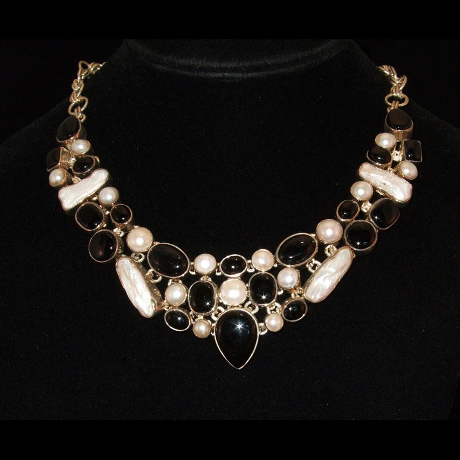 Onyx, Pearl, Topaz Necklace