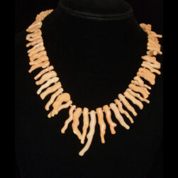 Tan Branch Coral Artisan Made Hand Beaded Necklace