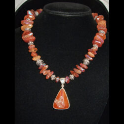 Hessonite Garnet and Sterling Silver Beaded Necklace with Titanium Druzy Pendant