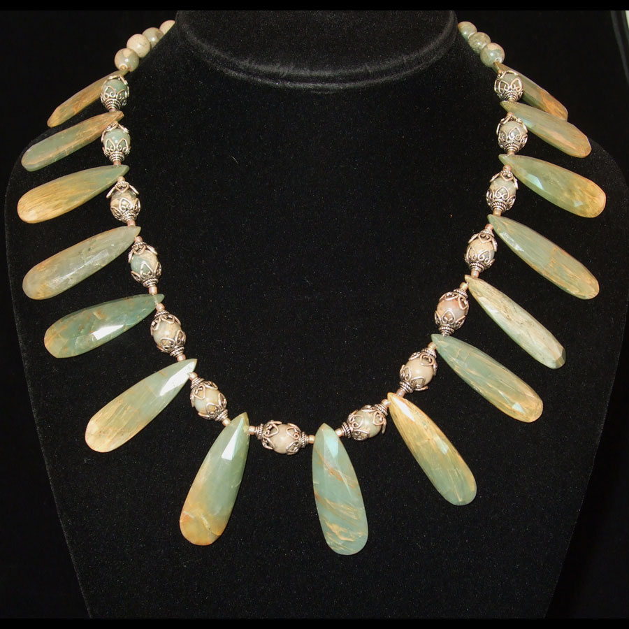 Green and Gold Jasper Teardrop Hand beaded, handmade Sterling Silver Necklace