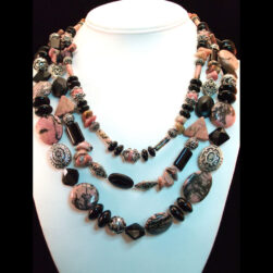 Rhodonite, Black Onyx and Sterling Silver Triple Strand Beaded Necklace