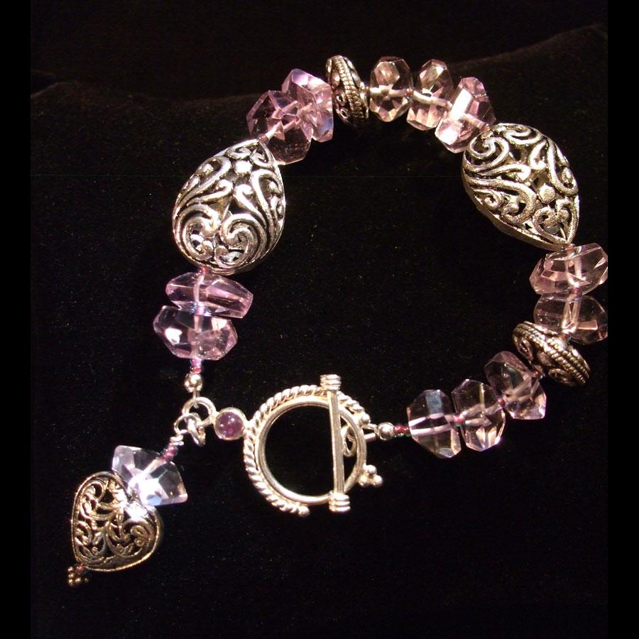 Amethyst, Ornate Sterling Silver Hand Beaded, Artisan Designed Bracelet