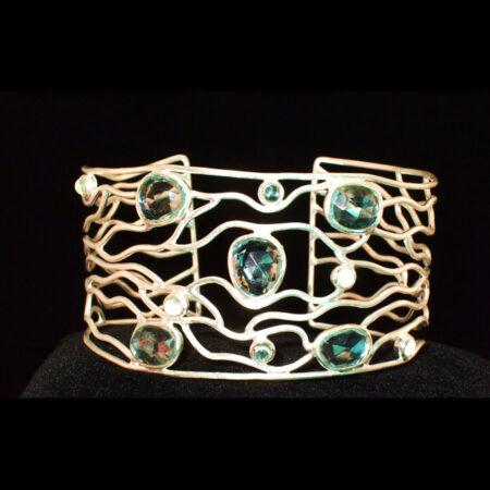 Blue Topaz Silver Cuff Bracelet
