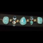 Larimar, Topaz Silver Bracelet