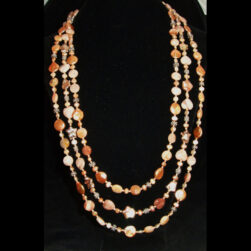 Peach Freshwater Pearl, Sunstone, Sterling Silver 3 strand hand beaded necklace