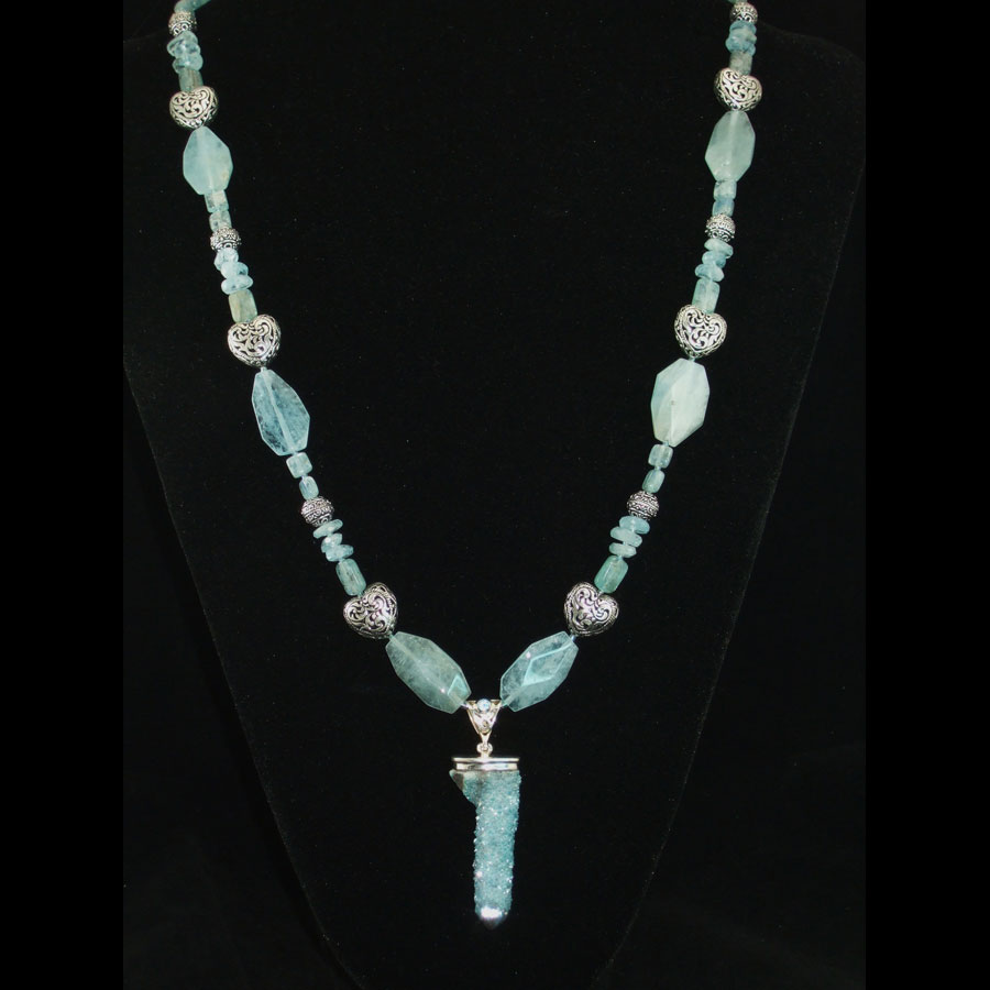 Aquamarine, Kyanite, Spirit Quartz Long Handmade Beaded Necklace
