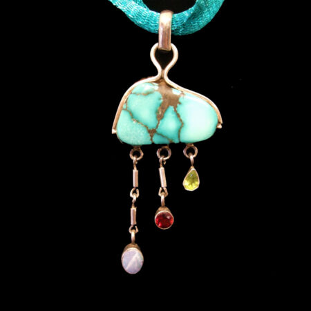 Turquoise Sterling Silver Pendant with Opal, Garnet, Peridot Stones