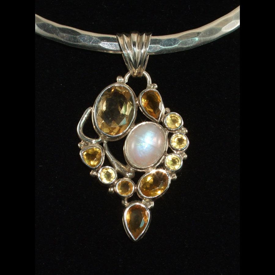 Citrine, Moonstone Sterling Silver Pendant