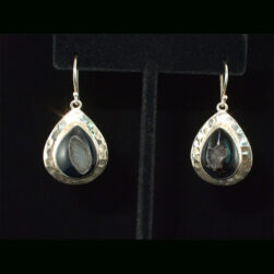 Black Druzy Quartz Sterling Silver Drop Earrings