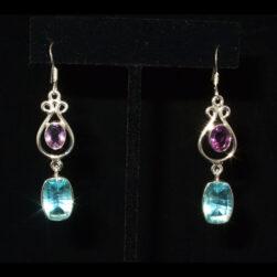 Amethyst, Blue Topaz Earrings