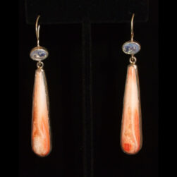 Spiny Oyster Shell, Moonstone Silver drop Earrings