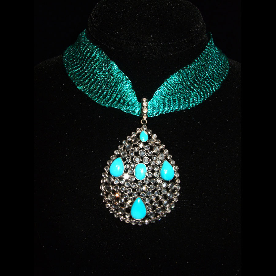 Turquoise, White Topaz Pendant