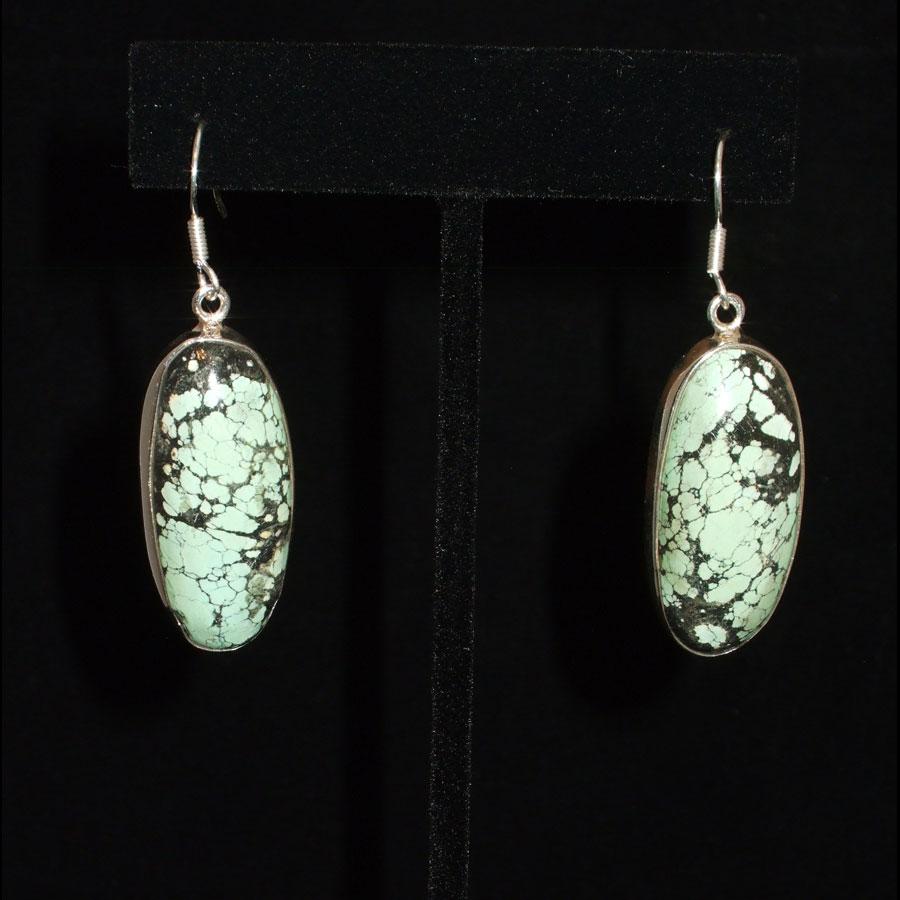 Green Turquoise Sterling Silver Earrings