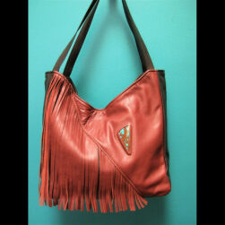 Black/Brown Leather Fringe Purse