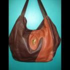 2 tone brown leather satchel purse