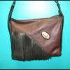 Brown/Black Leather Fringe Purse