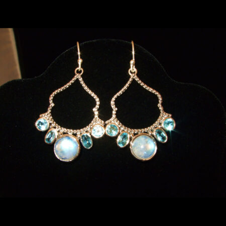Moonstone, Blue Topaz Earrings