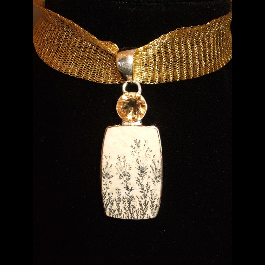 Dendritic Agate, Citrine Pendant