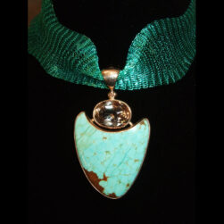 Turquoise, Topaz Silver Pendant