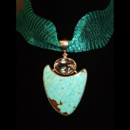 Turquoise, Topaz Silver Pendant