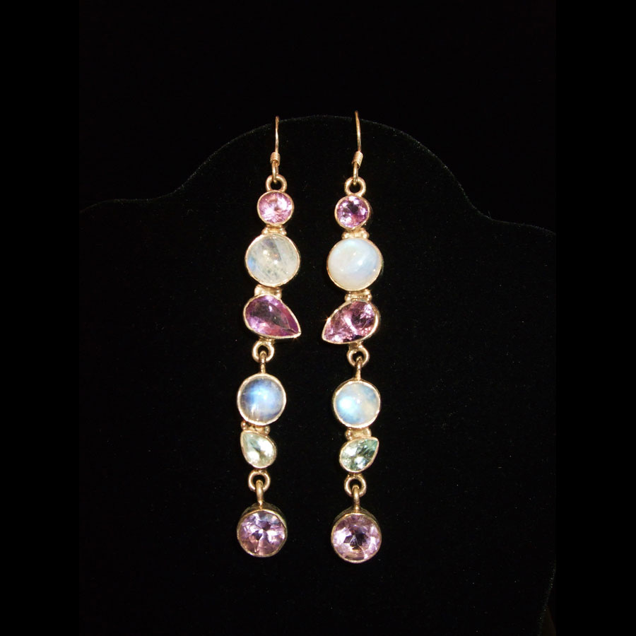 Moonstone, Amethyst Sterling Silver Earrings