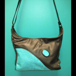 Black/Turquoise Leather Purse