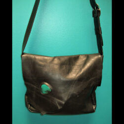 Black Leather Pony Express Handbag