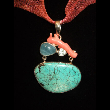 Turquoise, Coral Silver Pendant