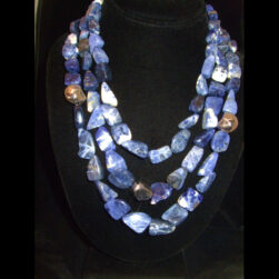 Sodalite Sterling Silver 3 strand beaded necklace