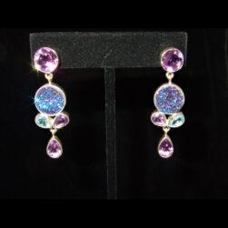 Amethyst, Druzy Earrings