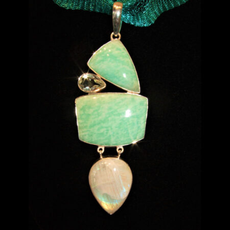 Amazonite, Moonstone, Green Amethyst Sterling Silver Pendant